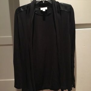Loft Black Cardigan with Leather Shoulder Panels